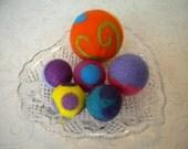 Needle Felted, Wool, Fidget,  Balls, Set of 6, Handmade, Decor, Beads