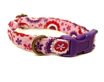 Heartthrob - Light Pink Purple Multicolor Hearts Girl Valentine Organic Cotton CAT Collar - All Antique Brass Hardware