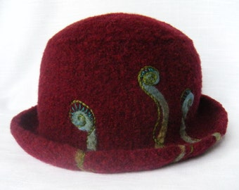 Felted Wool Knit Hat Burgundy Blue Green