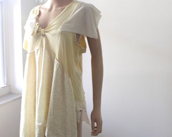 Funky Bohemian Tunic Buttercream Tattered Wearable Art Top Upcycled Rustic Casual Yellow Shirt Eco Friendly Fashion Maternity Top M L XL 1X