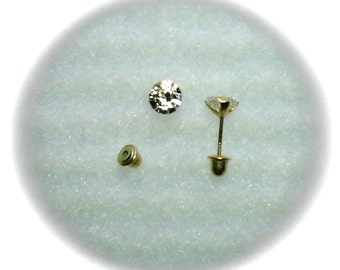 5mm White Cubic Zirconias in 14k Yellow Gold Screwback Stud Earrings