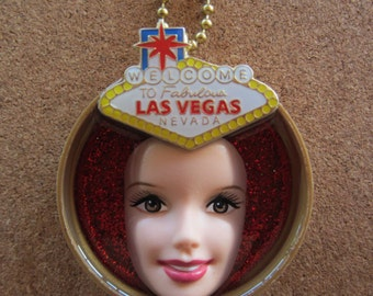 Welcome to Fabulous Las Vegas Nevada -upcycled Barbie bottle cap necklace