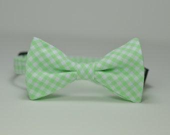 Boy's Bow Tie, Boys Bowtie, Gingham Bowtie, Mint Bow Tie, Mint Green Tie, Toddler, Baby Bow tie, Mint, Ring Bearer, Wedding, Gingham Bow Tie