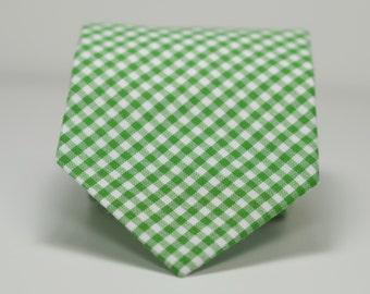 Kelly Green Necktie, Green Gingham Necktie, Wedding Necktie, Men's Necktie, Skinny Necktie