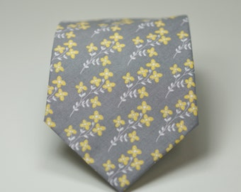 Necktie - Yellow and Gray Floral Tie, Men's Necktie, Skinny Necktie, Grey and Yellow Wedding