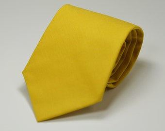 Curry Yellow Necktie, Cotton Necktie, Men's Necktie, Skinny Tie, Mustard, Wedding, Groomsmen Tie