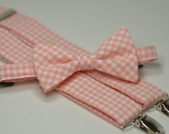 Peach Gingham Bow Tie and Suspender Set, Boy's Bow Tie, Boy's Suspenders, Coral Peach, Wedding, Ring Bearer Outfit, Toddler, Baby