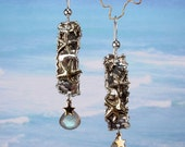 SEA STAR - Sterling Silver Starfish Earrings With Labradorite Briolettes