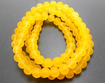 50 Yellow Matte Sea Glass Beads 8mm frosted beach glass round (H5004)