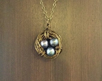Bird's Nest Mother's Necklace, Brass nest with black Pearl Eggs, Birthstone Necklace