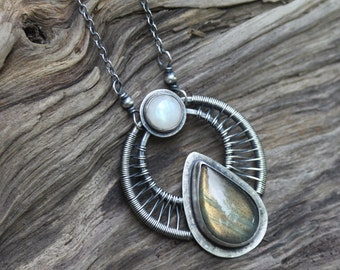 Labradorite and Rainbow Moonstone Amulet - Sterling Silver Necklace - Artisan Made