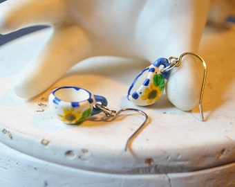 Cuppa Tea Earrings Made With Vintage Dollhouse Cups