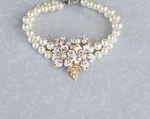 Pearl Bracelet, Crystal Embellished Bracelet, Bridal, Swarovski, Vintage Glamorous Inspired Bracelet, Wedding Jewelry