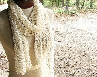 Pattern for Knit Lace Scarf or Shawl, One Pattern Many Weights of Yarn, Lace Hand Knit Scarf, Neckwarmer, Cowl, Shawl Pattern