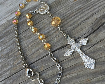 Yellow Topaz faceted crystal 1-decade Catholic Rosary for your car mirror