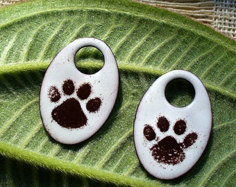 Enameled Copper/ Earring Pair/  Muddy Paws/copper components/enamel jewelry/copper jewelry/brown and white/pet jewelry/dogs/