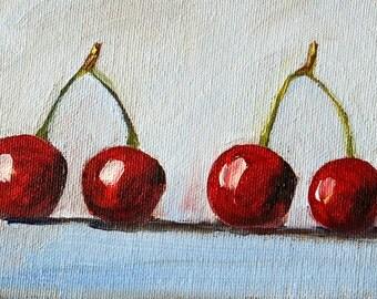Cherries Still Life Oil Painting, Original 4x6 Canvas, Small Kitchen Wall Decor Art, Blue, Red, Food, Fruit, Miniature Tiny Cherry Art,
