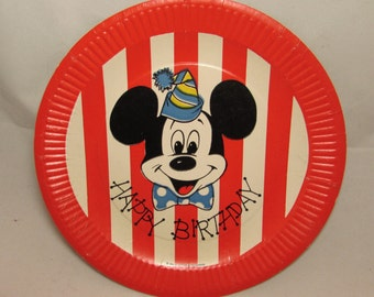 One Vintage Mickey Mouse Happy Birthday Paper Plate, 1962, Walt Disney Productions, collectible, red white stripes