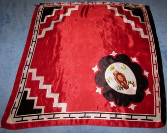 Vintage Red Contrade Horse Race Flag Banner with a Crest of a Crown from Siena Italy, Owl, M U