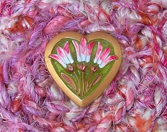 Blushing Pink Multicolor Basket - Silk Tapestry Art Basket with Flower Glass Heart - Unique Handmade Shelf Decor Basket Gift for Her STB097