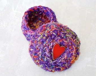 Purple Multicolor Basket with Red Heart Shaped Button - Color Art Basket with Lid - Unique I Love You Gift for Her - Mothers Day Gift STB098