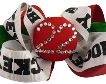 Hockey Hair Bow Number Hairbow Rhinestone Clip - red emerald or any colors- swarovski