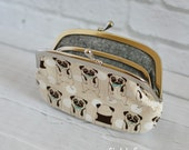 Women's Wallet Frame Purse with Divider Kawaii Dog Pug