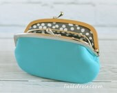 Women's Leather Wallet with Divider Blue with Dot Lining Coin Purse Card Case
