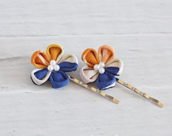 Flower Bobby Pins Silk Tsumami Kanzashi Hair Accessory