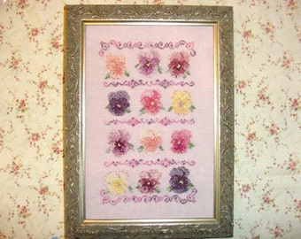 Pansy Flowers Cross Stitch Pattern