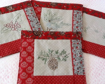 Christmas Holiday Botanicals Mug Rugs Hand Embroidery Pattern Set