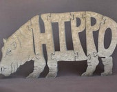 Hippo  Puzzle Wooden Toy Hand  Cut with Scroll Saw
