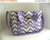 SALE Extra Large Diaper bag Made of Gray Chevron Fabric and Lavender Polka Dot - Diaper Bag - Chevron Diaper Bag - Personalized