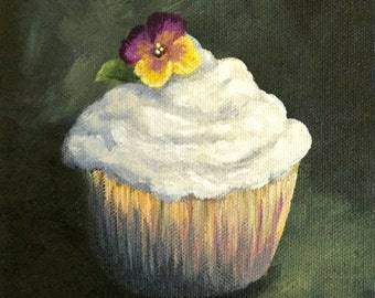 "Cupcake 011 6"" x 6"" Original Still Life Painting on Gallery Wrapped Canvas by Torrie Smiley"
