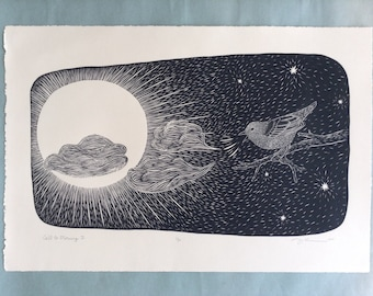 "13.5 x 20 Linocut ""Call to Morning II"" // bird art / bird print / black and white art / birdsong / sun / stars / night sky / mystical / hope"