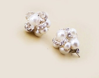 Wedding Earring Studs, Bridal Stud Earrings, Wedding Studs Pearl Rhinestone, Stud Earrings Handmade Weddings, Vintage Style Gift for Her