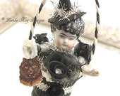 Original Design Witch Art Doll Vintage Inspired  Ornament Doll Hanging Art Doll Mixed Media China Doll Head Lorelie Kay Original
