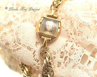 Tiny Frozen Charlotte Bracelet Watch Doll One-of-a-Kind Gold Tone Watch Bracelet