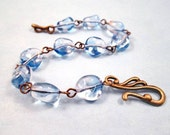 RESERVED - Periwinkle Blue Glass Nuggets, Bracelet and Earrings Set, Brass Jewelry Set, FREE Shipping U.S.