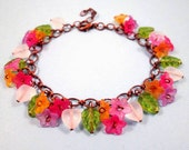 Colorful Charm Bracelet, Flowers and Hearts, Copper Beaded Bracelet, FREE Shipping U.S