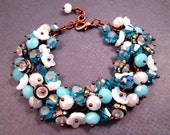 Blue and White Cha Cha Bracelet, Precious Things, Copper Wire Wrapped, Glass Beaded Bracelet, FREE Shipping U.S.