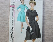 """41"""" Bust - 1960s Sewing Pattern - Simplicity 5237 One-Piece Dress in Half-Size"""