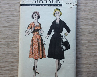 "45"" Bust - 1950s Sewing Pattern - Advance 9060 Dress and Jacket"