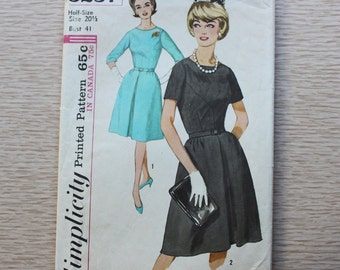 "41"" Bust - 1960s Sewing Pattern - Simplicity 5237 One-Piece Dress in Half-Size"