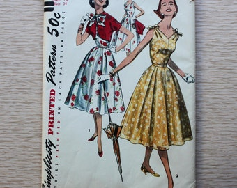 "34"" Bust - 1950s Sewing Pattern - Simplicity 1657 Dress and Jacket"