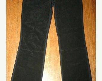 50% Off SALE Vintage Black Suede Leather Pants Bootcut, Size 2 Ladies