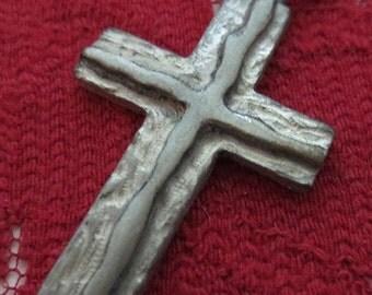 Vintage 1960's Gothic Pewter Cross Charm Pendant Necklace