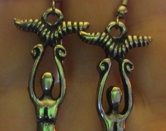 SALE Wiccan Pagan Victory Goddess Powerful Horns Earrings