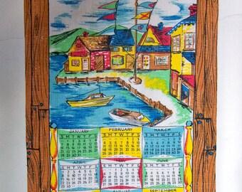Vintage 1973 Linen Calendar Towel - Wall Hanging - Seaside Village