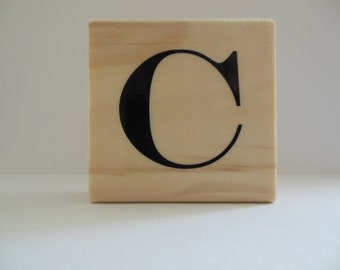 Letter C Rubber Stamp - Bamboo Breeze Collection - Wood Mounted Rubber Stamp - Alphabet Letter C